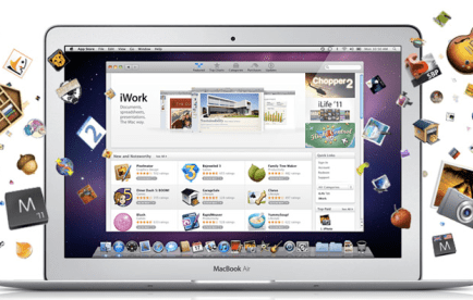 A Macbook showing the Mac AppStore