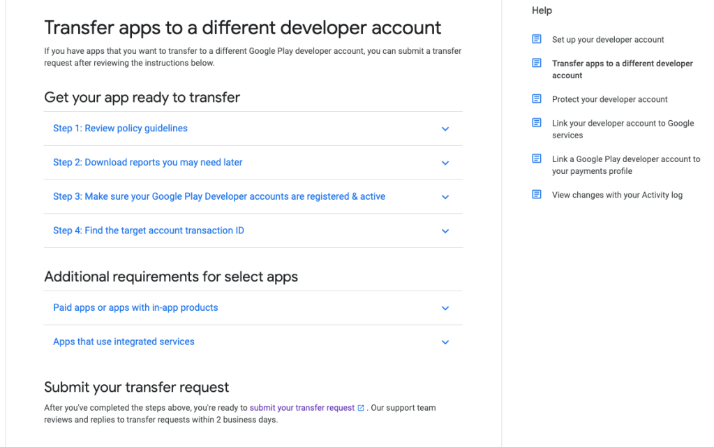 Transfer app to a different developer account