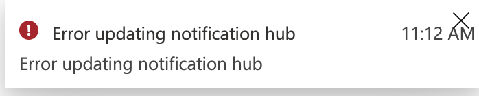 APNS settings update error for azure notification hub