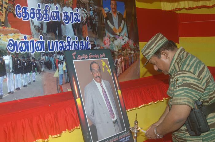 LTTE leader paying homage to Anton Balasingham