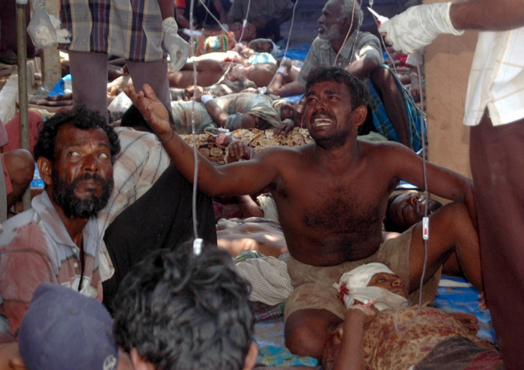 "Injured civilians are seen in a make-shift hospital in this photo released by the pro-Tamil Tiger group ""Mercy Mission to Vanni"" showing what they allege are injured civilians that were fleeing"