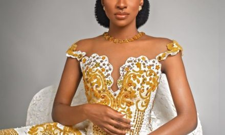 "#BBNaija Star, Anto Lecky Stuns In Bridal Collection, ""Desert Rose"""