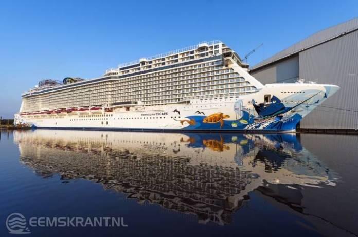 Cruiseschip Norwegian Escape mogelijk pas vrijdagavond laat in de Eemshaven