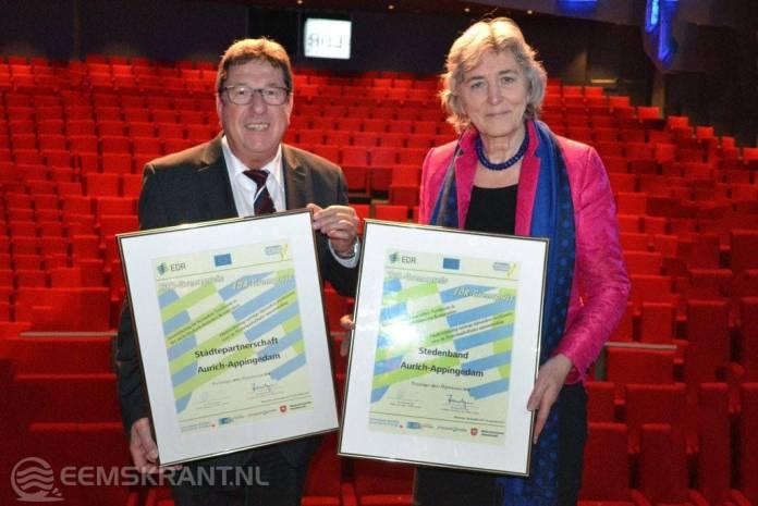 Stad Appingedam ontvangt EDR-Grensprijs voor stedenband met Aurich