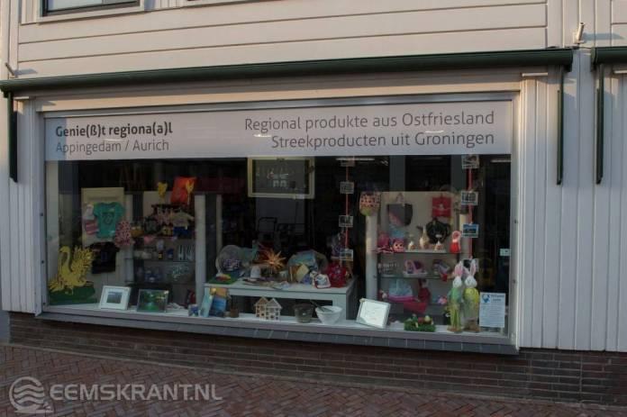 Tijdelijke winkel met Duitse streekproducten in de Dijkstraat van Appingedam gaat sluiten