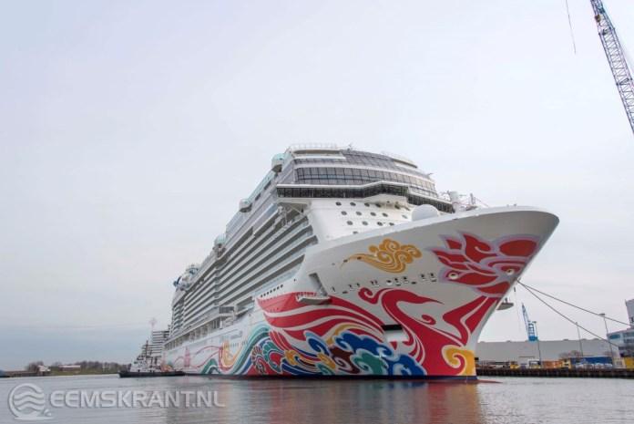 Nieuwste cruiseschip Norwegian Joy doet maandag de Eemshaven aan