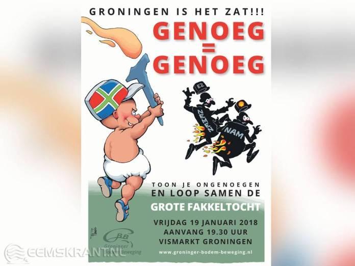 Protestactie bij Centrum Veilig Wonen voor mensen die niet naar de Fakkeltocht in Groningen kunnen