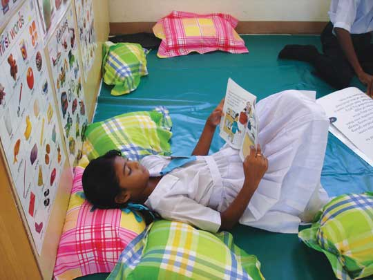 A child with autism reading during free time
