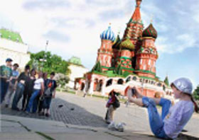 Zhenya photographing her friends in Red Square