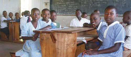 Deaf children in class in Bushenyi