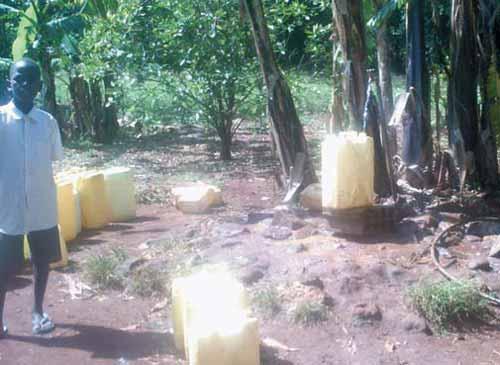 Water collection point, Agururu Primary School, Uganda (photo taken by school pupil)