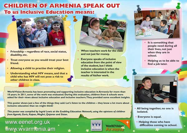 Poster: Children of Armenia speak out - To us inclusive education means