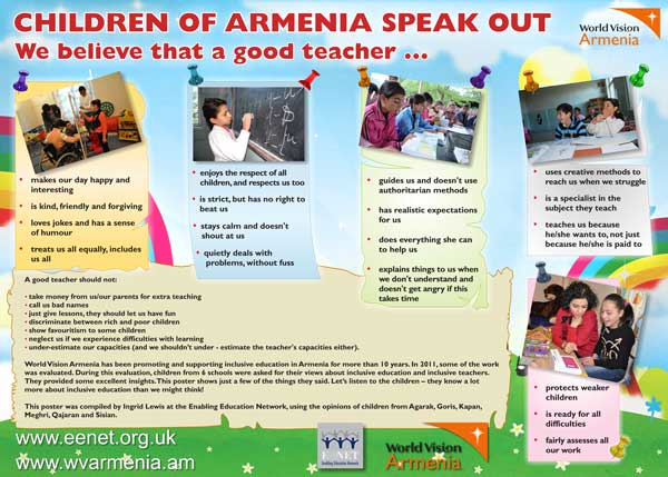Poster: Children of Armenia speak out - We believe that a good teacher ...