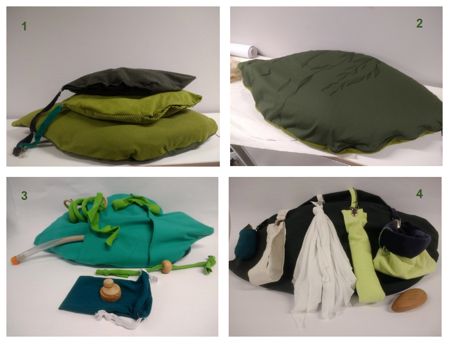 The play cushion with its various elements.