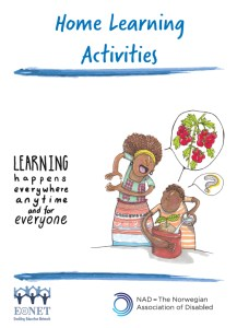 Cover page of home learning activities package, includes image of child watering a plant with woman next to them, talking.