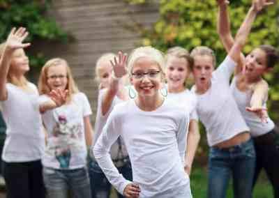 Modellenparty groepsfoto's (buiten)