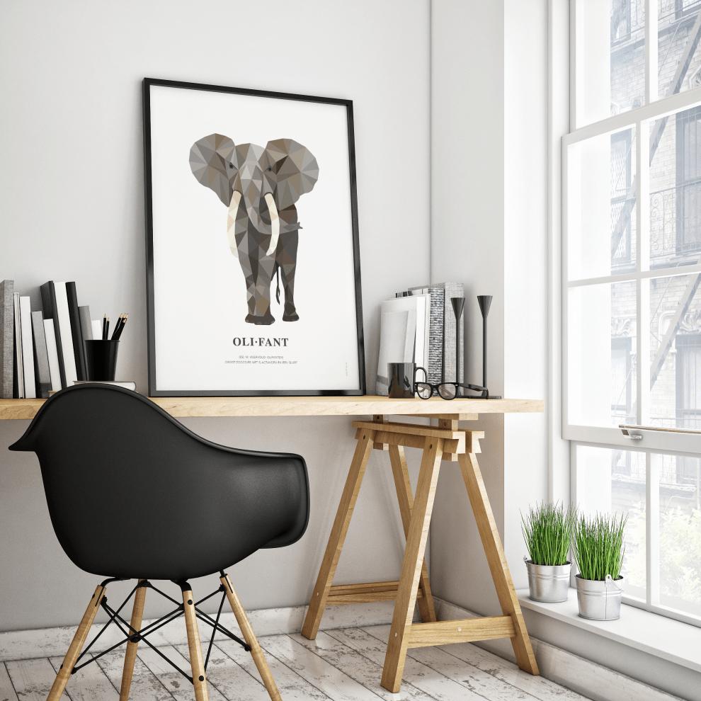 geometric-wildlife-postercollectie-poster-olifant-1