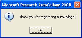 Thank you for registering AutoCollage!