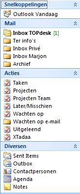 Microsoft Outlook Snelkoppelingen