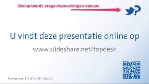 Screenshot PowerPoint met link naar SlideShare en Twitter