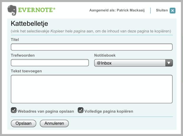 Evernote bookmarklet