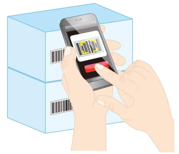Smartphone als barcodescanner scan doos