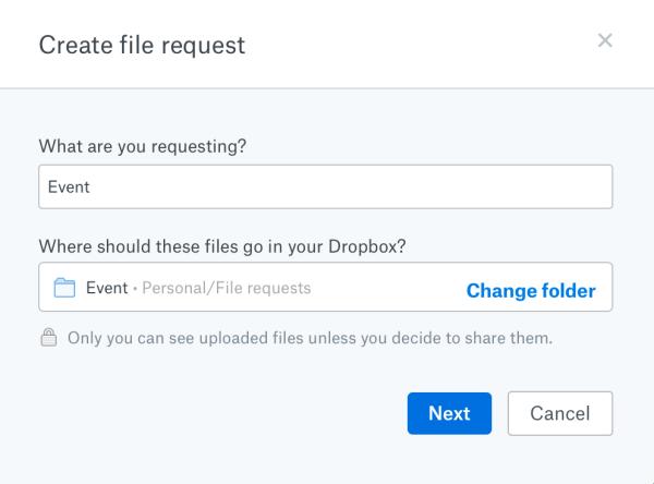 Dropbox - Create file request