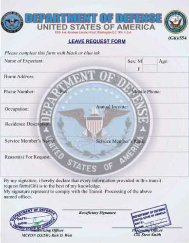 SCAM Department of Defence - Leave Request Form
