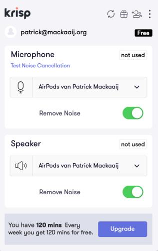 Krisp-instellingen: microfoon en speaker