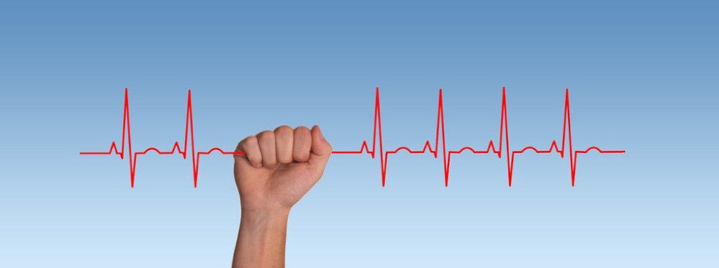 Hand met pulsesignaal