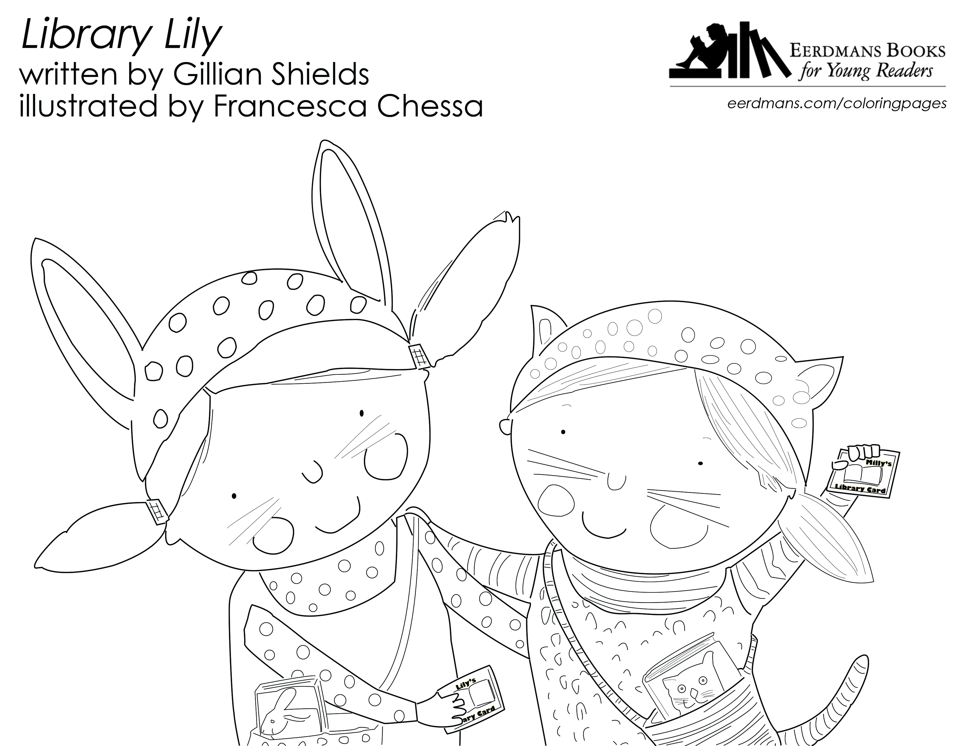Library Lily coloring page