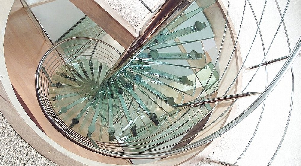 Spiral Staircases Round Staircase   Spiral Staircase With Glass Railing   Metal   Residential   In India Staircase   Contemporary Glass   Thin Glass