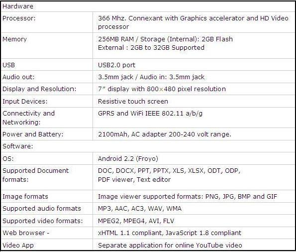 aakash tablet specs