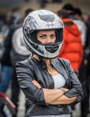 woman wearing a bike helmet