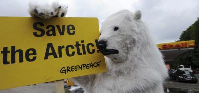 """Un activista de Greenpeace, disfrazado de oso polar, en la campaña """"Salvemos el Ártico""""."""