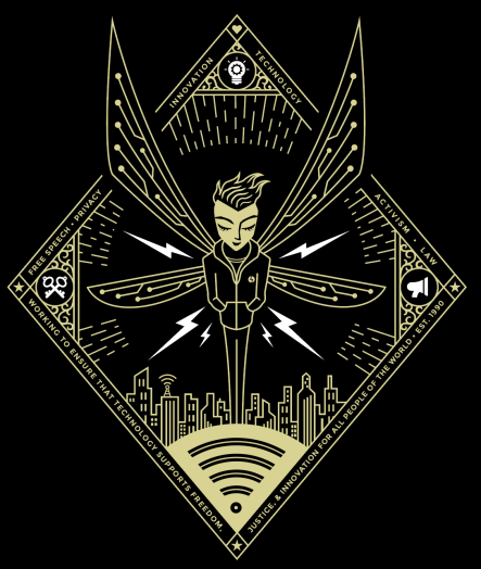 gold hooded figure with wings on black background