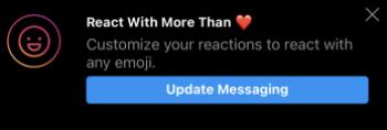 "Image of Instagram Notification of ""custom emoji"" funcition in new messenger"