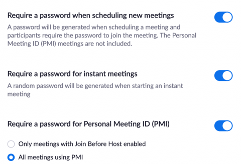Several password settings toggled on to the right