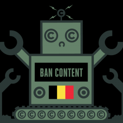 flag of belgium with robot