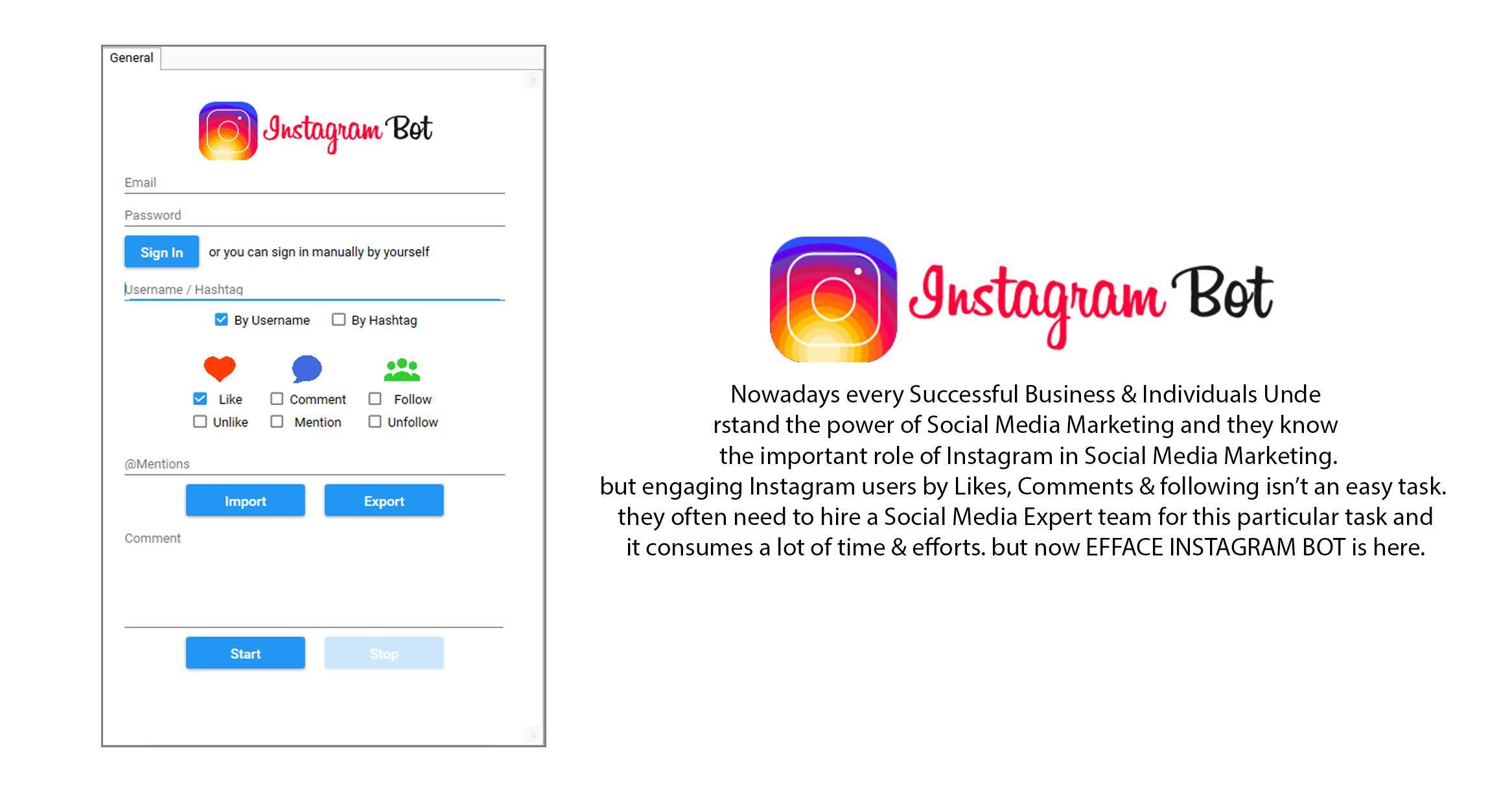 Efface instagram bot