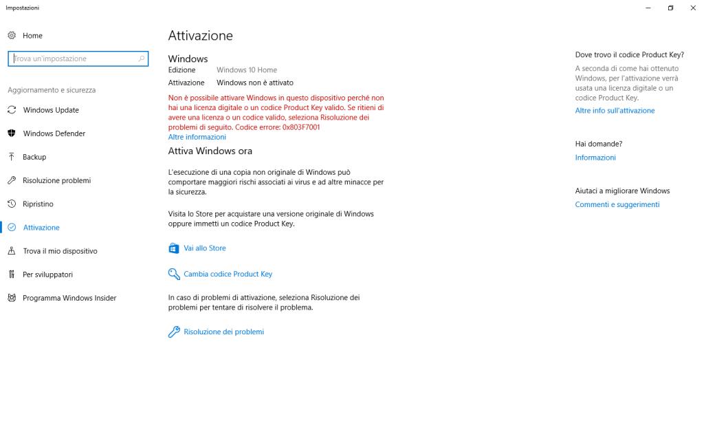 Windows 10 - Non Attivato