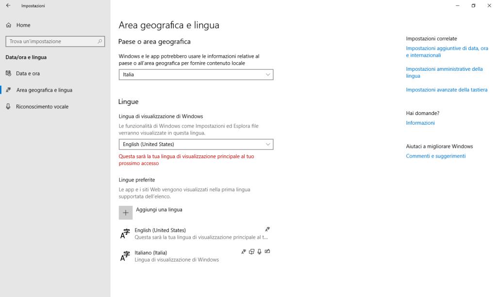 Windows 10 - Lingua aggiuntiva installata