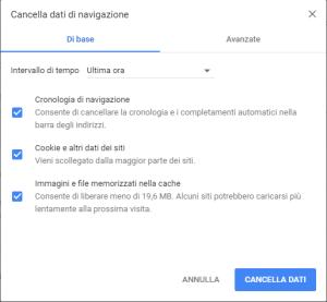 Google Chrome - Cancella dati di navigazione Base