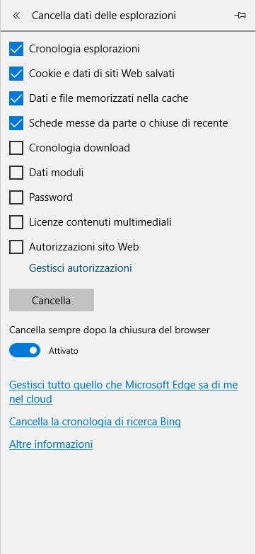 Microsoft Edge - Menù cancella dati delle esplorazioni con cancellazione automatica