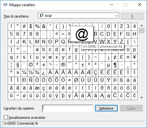 Windows - Mappa caratteri chiocciola