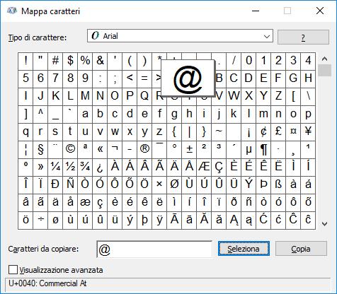 Windows - Mappa caratteri chiocciola selezionata