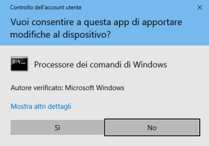 Windows 10 - Consenso apertura prompt dei comandi