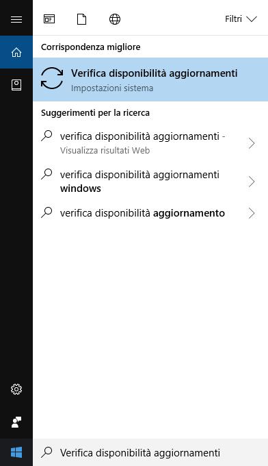 Windows 10 - Ricerca Verifica Disponibilità Aggiornamenti