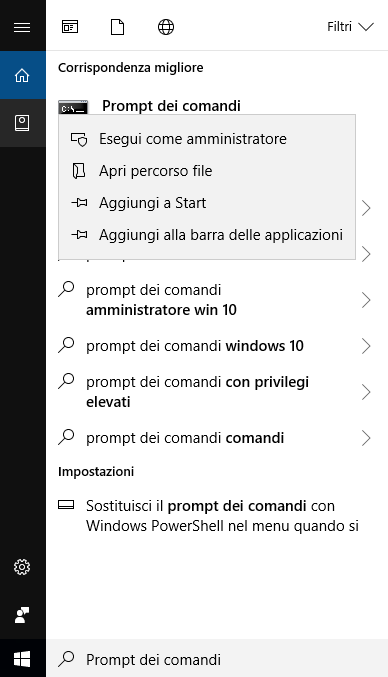 Windows 10 - Ricerca prompt dei comandi Menù a tendina