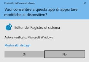 Windows 10 - Conferma Regedit